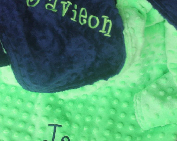Reversible Baby Toddler Kids Minky Personalized Monogram Embroidered Soft Comfy Chenille School Nap Nursery Two Color Custom 30x36 Blanket
