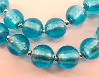 Round blue glass beads- 16mm- lampwork- silver foil interior- 18pcs