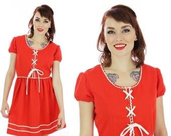 Mod Babydoll Dress 60s Mini Dolly Sixties Corset Lacing Bodice 1960s Puff Sleeves Empire Waist 70s Retro S M Small Medium