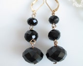 Vintage Classic Jet Black Tiered Faceted Crystal Dangle Drop Earrings