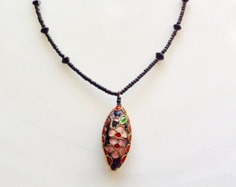 Vintage Enamel Cloisonne Pendant Choker Necklace