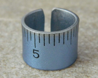Metallic Blue Ruler Ring