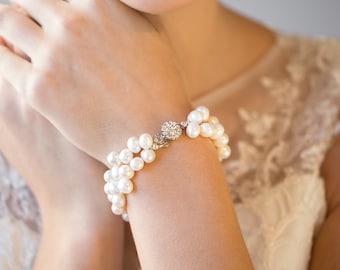 Wedding Bracelet, Freshwater Pearl Bridal Jewelry,  Bridal Bracelet with matching earrings, Pearl Bracelet & Earrings