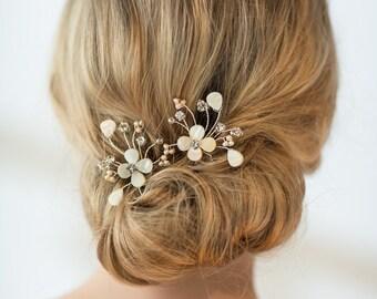 Wedding Hair Pins, Bridal Hair Pins, Mother of Pearl Wedding Hair Pins