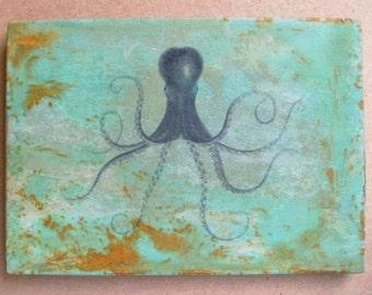 Octopus 5x7 art tile