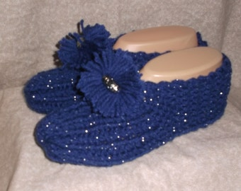 Women's  Handmade Knitted Blue Slipper Size 6, 7, or 8 with Pompoms and Bead