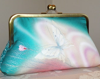 Silk Kimono Clutch Purse Bag..Peacock Feather..Bridal/Wedding Gift..Florals..Butterfly..Lavendar/Teal/Pink/Wrap/Scarf/Shrug/Shawl available