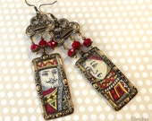 Unique earrings made with vintage playing card images, King and Queen