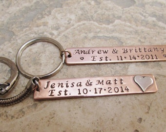Personalized Gift  - Personalized Copper and Sterling Silver Key Chain - Wedding, Anniversary, For Him or For Her  Mixed Metals Key Chain