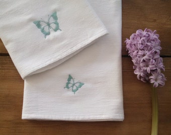 ON VACATIONset of 2 butterfly tea towels / embroidered / spring home decor / black and white / flour sack towel / kitchen towel / dish towe