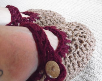 Mary Jane House Shoes, Women's 8.5,Warm Brown and Claret, House shoes, Slippers, Indoor Shoes, Crochet Slippers, Ready to Ship