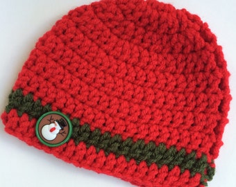 Newborn girl 0-3 months baby hat beanie red green stripe boy infant hat baby photo prop Ready To Ship