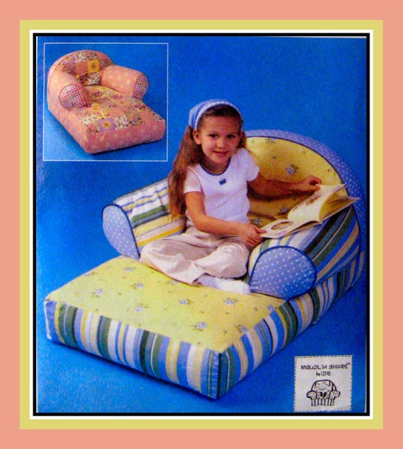 Kids chic comfy overstuffed chaise lounge designer sewing for Kids overstuffed chair