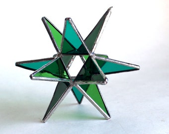 NEW Stained Glass Moravian Star - Four Seasons Spring Green-Home Decor -  3 Sizes