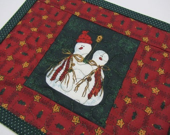Snowmen Quilted Mug Rug Mini Place Mat Snowman Christmas Red Green