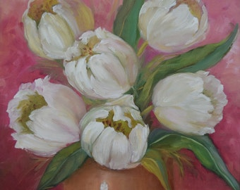 Tulip Floral Still Life Painting,White Tulips Pink Background,Spring Bouquet,Original Oil Painting by Cheri Wollenberg