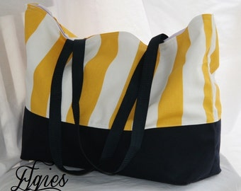 Yellow and White Canopy Stripe- Navy Blue Bottom  -Big Large Beach Tote- Overnight Bag- Water and Mildew Resistant Interior