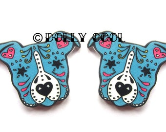 Pitbull Earrings Sugar Skull Style in Blue by Dolly Cool