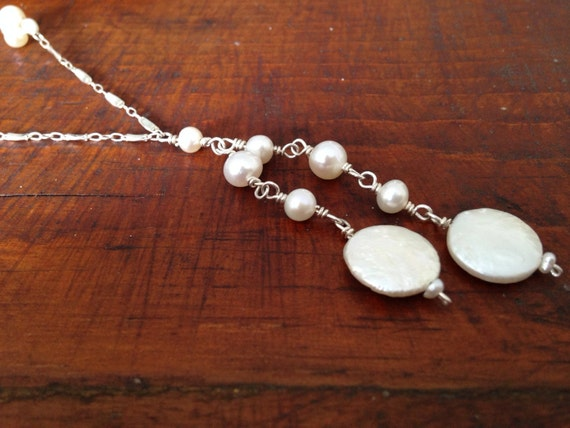 White Coin Pearl Necklace, double coin pearl necklace, white pearl necklace