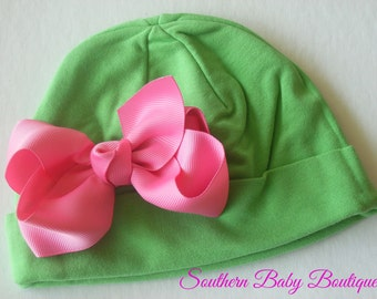NEW----Boutique Hospital Pictures Knit Beanie Cap with Hairbow Clip Set----Green and Hot Pink----Fits 0-6 Months