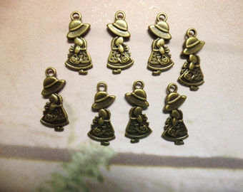 Antique Brass Holly Hobbie Charms, Pack Of 8 Charms