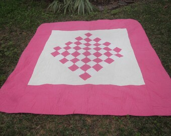 Hot Pink Heirloom Style Quilt with Checkered Design