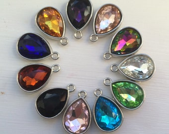 24 pc -  Wholesale mix color Faceted glass crystle teardrop pendant charm - silver plated bezel