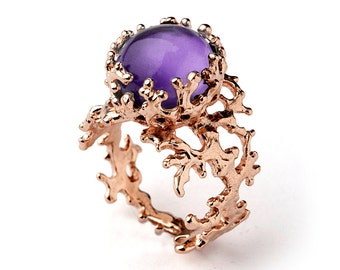 CORAL 14k Gold Amethyst Ring, Purple Amethyst Engagement Ring, Unique Gold Ring, Rose Gold Amethyst Ring, Gold Gemstone Ring