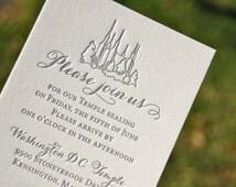 lds wedding invitations letterpres s wedding invitations blush and