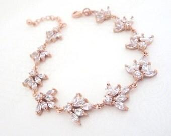 Rose Gold Bridal bracelet, Crystal Wedding bracelet, Wedding jewelry, Rose Gold jewelry, Simple bracelet, Rhinestone bracelet, EMMA