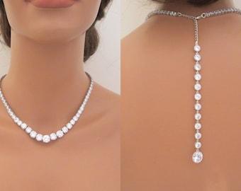 Crystal Backdrop necklace, Bridal Back drop necklace, Statement Wedding necklace, Wedding jewelry, Back necklace, Rhinestone necklace