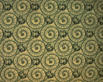 Green Cotton Fabric with Flowers and Swirl design - Colonial Flower pattern with swirls - great fabric