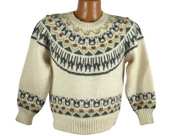 Norwegian Cropped Sweater Vintage 1980s Wool Cream White Nikke Victor