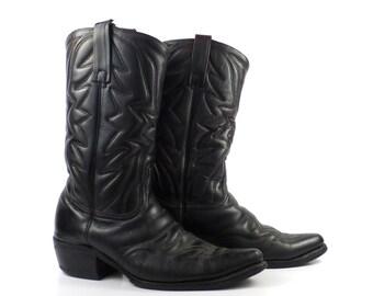 Men's Cowboy Boots Vintage 1970s Durango Black Leather size 8 1/2