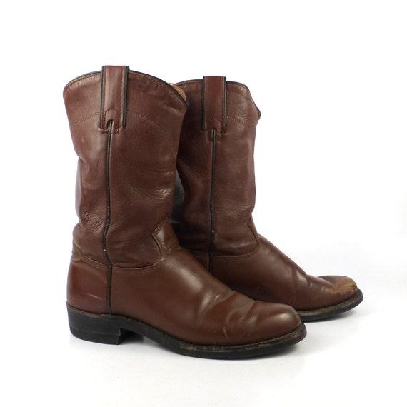 cowboy boots vintage brown j chisholm roper leather flat