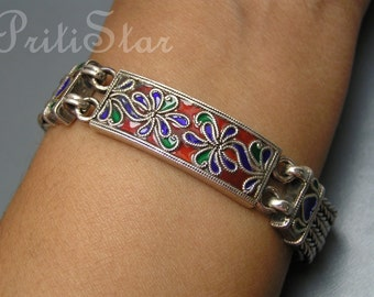 Byzantine Style Silver Bracelet . Sterling Enamel Turkish Middle Eastern Jewelry