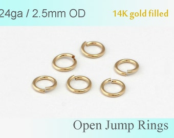 24ga 2.5mm Open Jump Rings 24 gauge 14k Gold Filled - made in USA wholesale Jewelry  Supply(1519)