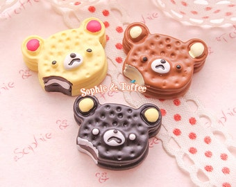 Kawaii Bear Cookie Cabochons Kawaii Cabochon Decoden Pieces Miniature Sweets Deco (6pcs)