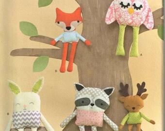 Stuffed Toy Owl Bunny Rabbit Raccoon Fox Deer Plush Dolls Craft Simplicity 1549 Sewing Pattern