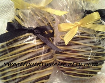 Black and Yellow Chocolate Covered Oreos Cookies Mommy to Bee Baby Shower Black And Yellow Wedding Favor Bumble Bee Party Sweet 16 Party
