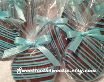 Blue Chocolate Covered Oreos Cookies Aqua Blue Wedding Favors It's a Boy Christening Baptism Favors Baby Shower Favors Gender Reveal Party