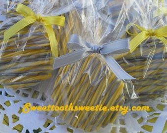 Yellow And Gray Chocolate Covered Oreos Cookies Wedding Favors Baby Shower Favors Bridal Shower favors Yellow Grey Cookies Snack Treats