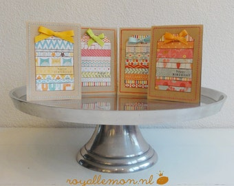 Cardset    4 Cards with patterned paper tags    Happy Birthday {RL13}