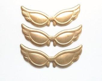 Set of 3 Wingtip Sunglasses Brass Stamping