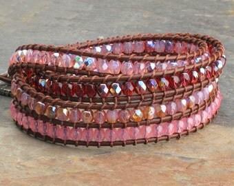 Czech Glass Leather Quadruple Wrap Bracelet - Pretty in Pink