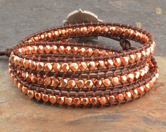 Czech Glass Leather Triple Wrap Bracelet - Copper Penny