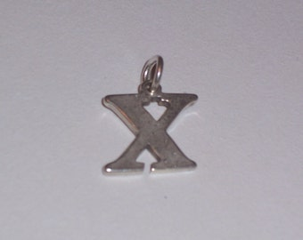 Vintage Sterling Silver Initial X Charm