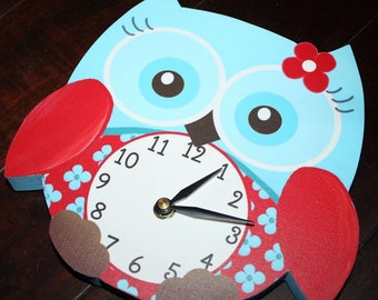 Turquoise and Red Sweet Little Owl Wooden WALL CLOCK for Girls Bedroom Baby Nursery WC0011