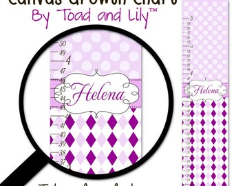 Kids Canvas GROWTH CHART Plum Purple Argyle and Dots Baby Nursery Canvas Growth Chart GC0227