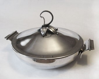 Modernist Royal Hickman Silver Plate Ingrid Covered Serving Dish 3 Crowns Mark